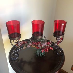 🎄Christmas Tealight Holder with holly berry sprig